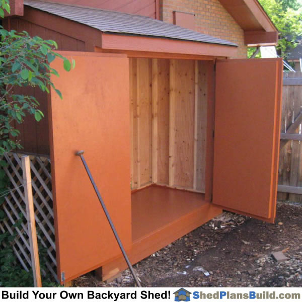 Completed garden lean to storage shed.