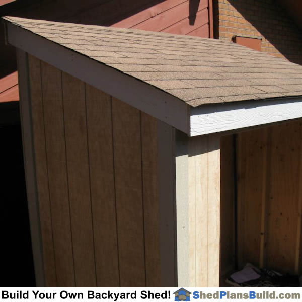 Roofing installed on lean to shed roof.