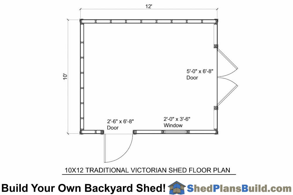 10x12TV Traditional Victorian Garden Shed Plans – Garden Shed Floor Plans