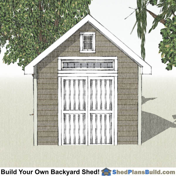 10x12 Garden Shed Plans End View