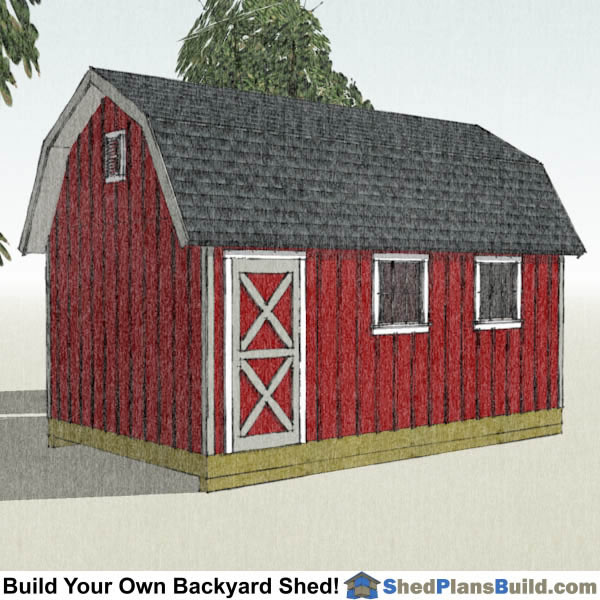 12x20 Gambrel Shed Plans Left Rear. 12x20 Gambrel Shed Plans   Small Barn Shed
