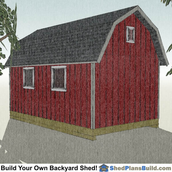 12x20 Gambrel Shed Plans Right Rear. 12x20 Gambrel Shed Plans   Small Barn Shed