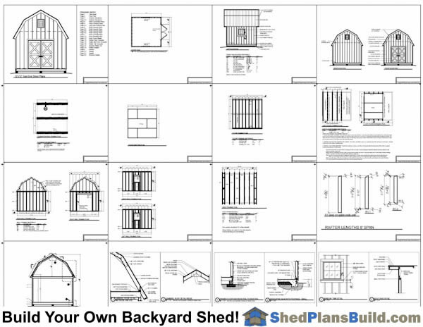 12x12 Gambrel Shed Plans Small Barn Shed