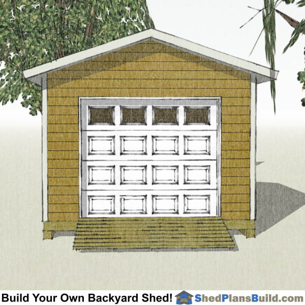 12x12 Garage Door Shed Plans End View