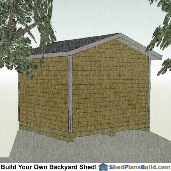 12x12 Garage Door Shed Plans Right Rear