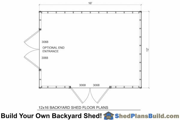 12x16 Backyard Shed Floor Plans