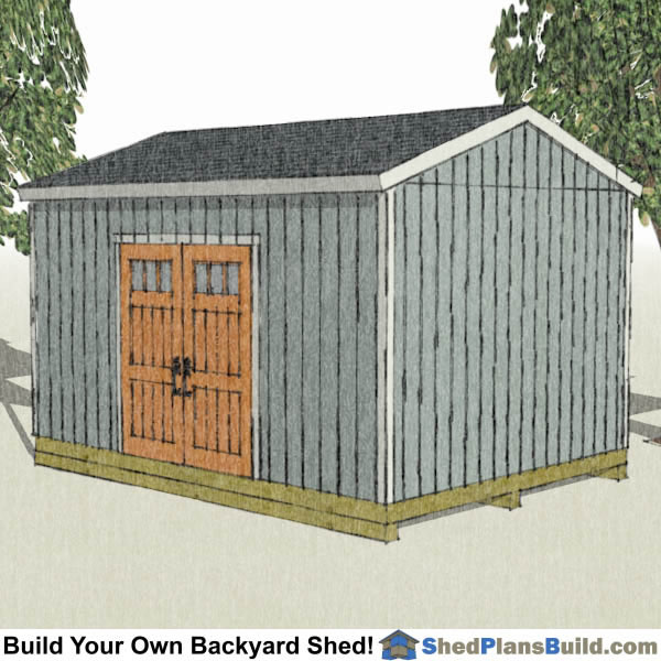12x16 backyard shed with factory built door