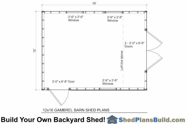 12x16 gambrel shed plans small barn shed for Gambrel floor plans