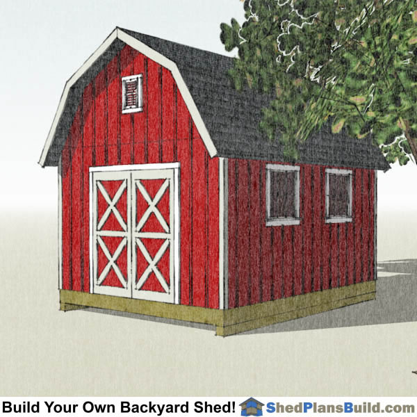 12x16 Gambrel Shed Plans Small Barn Shed