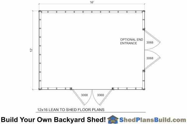 12x16 Lean To Shed Floor Plan