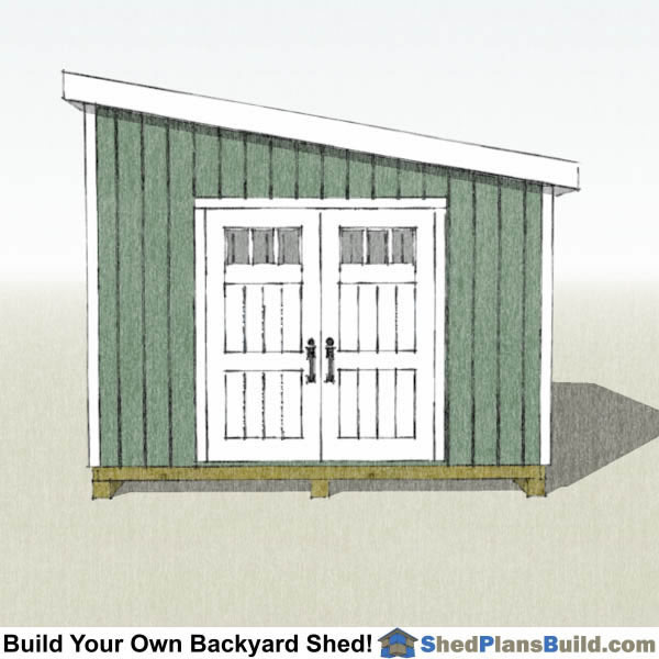 12x16 Lean To Shed Plans End View