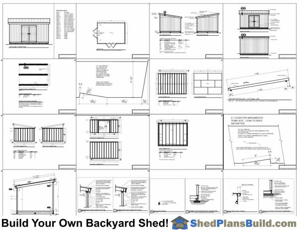 12x16 Lean To Shed Plans Example: