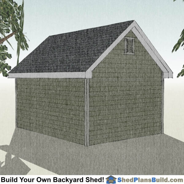 12x16 Garden Shed Plans Right Rear