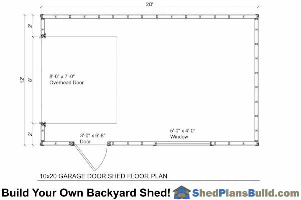12x20 Garage Door Shed Floor Plan