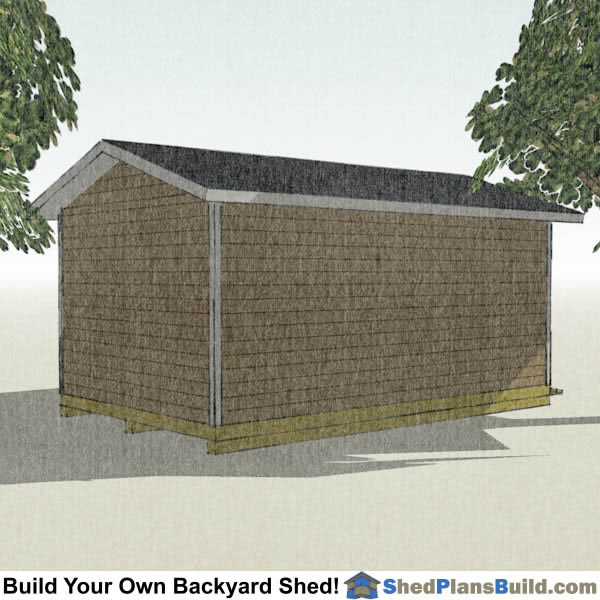 12x20 Garage Door Shed Plans Left Rear