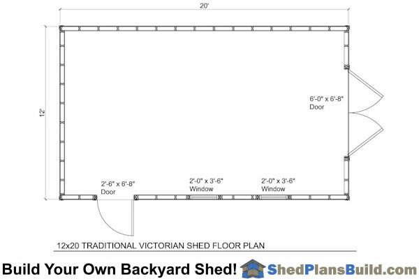 12x20 Traditional Victoran Style Shed Plans – Garden Shed Floor Plans