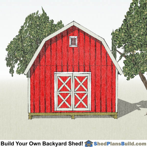 16x24 Gambrel Shed Plans End View