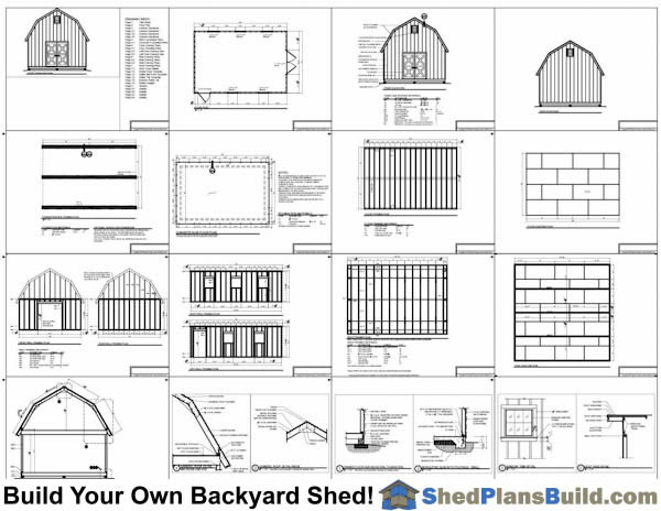 16x24 Gambrel Shed Plans Example: