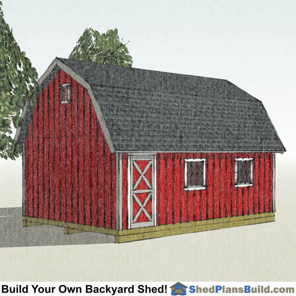 16x24 Gambrel Shed Plans Left Rear