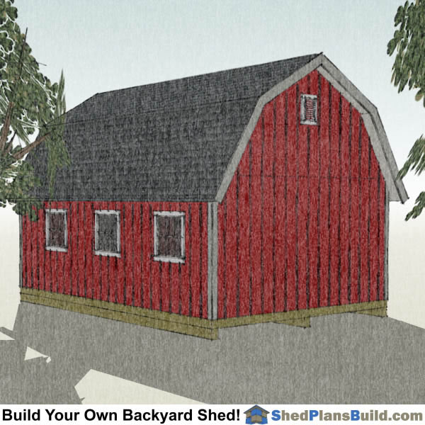 16x24 Gambrel Shed Plans Right Rear