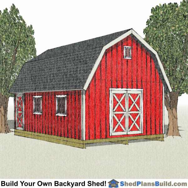 16 x 24 gambrel roof shed plans for Design your own barn house