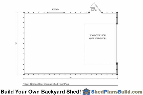 Storage Shed Floor Plans: 16x24 Garage Door Storage Shed Plans