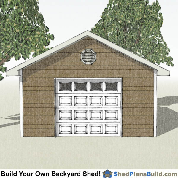 16 24 Garage : Garage door storage shed plans