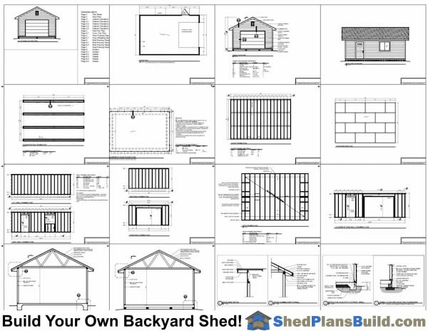 16x24 garage door storage shed plans for Garage door plans free