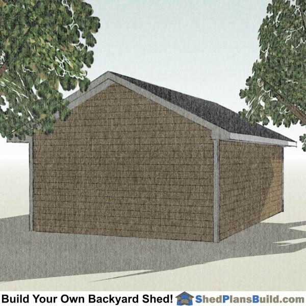 Storage Building Plans Garage: 16x24 Garage Door Storage Shed Plans