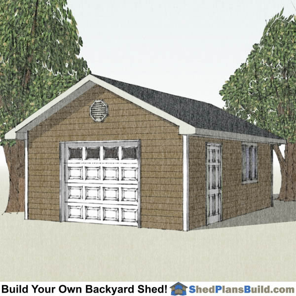 16x24 garage door storage shed plans for Garage plans with storage