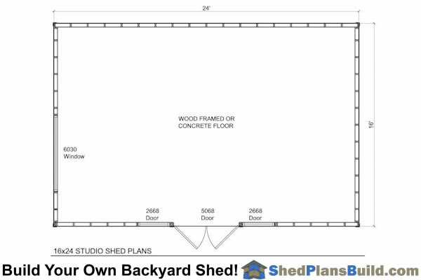 16x24 Modern Studio Shed Floor Plan