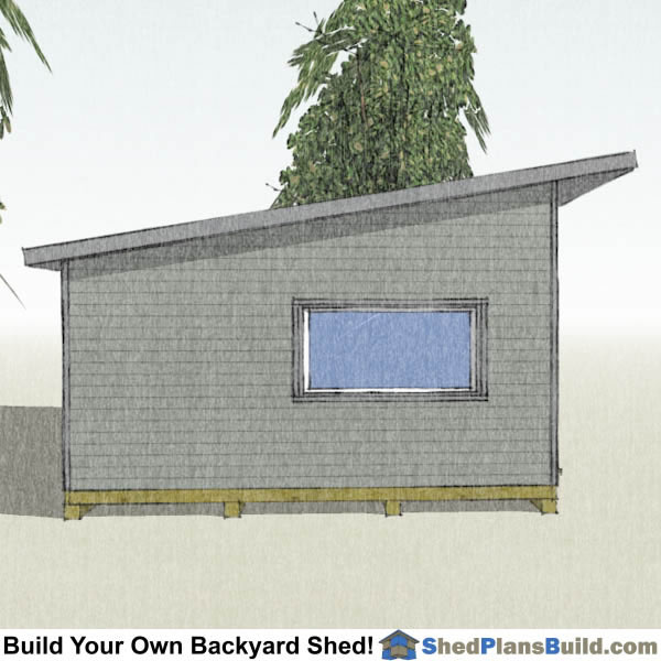 16x24 Modern Shed Plans End View