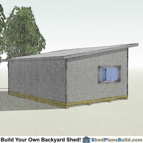 16x24 Modern Shed Plans Left Rear