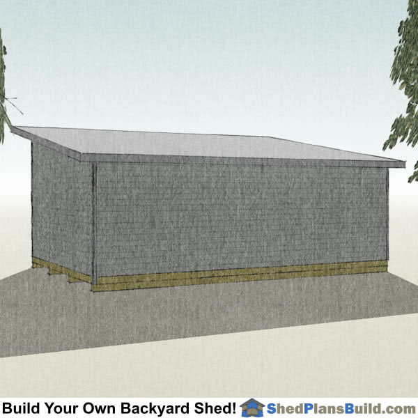 16x24 Modern Shed Plans Right Rear