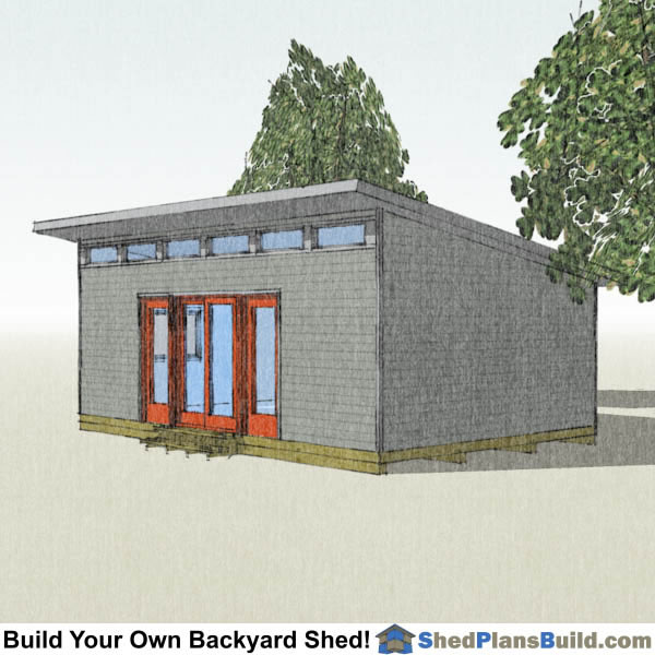 16x24 Modern Shed Plans Right