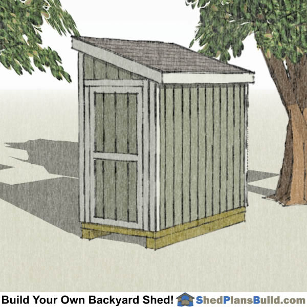 4x8 lean to shed with door on end