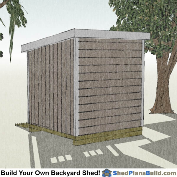 8x8 Lean To Shed Plans Right Rear