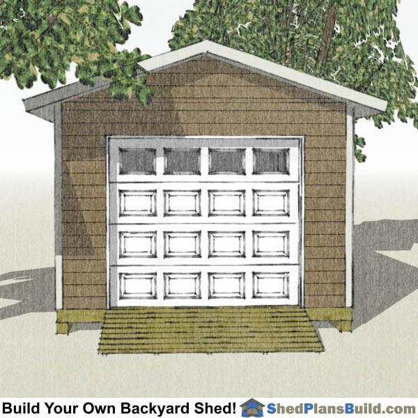 Storage Building Plans Garage: 12x20 Garage Door Storage Shed Plans
