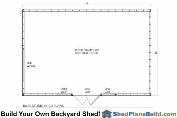 16x24 Modern Shed Plans | Instant Download